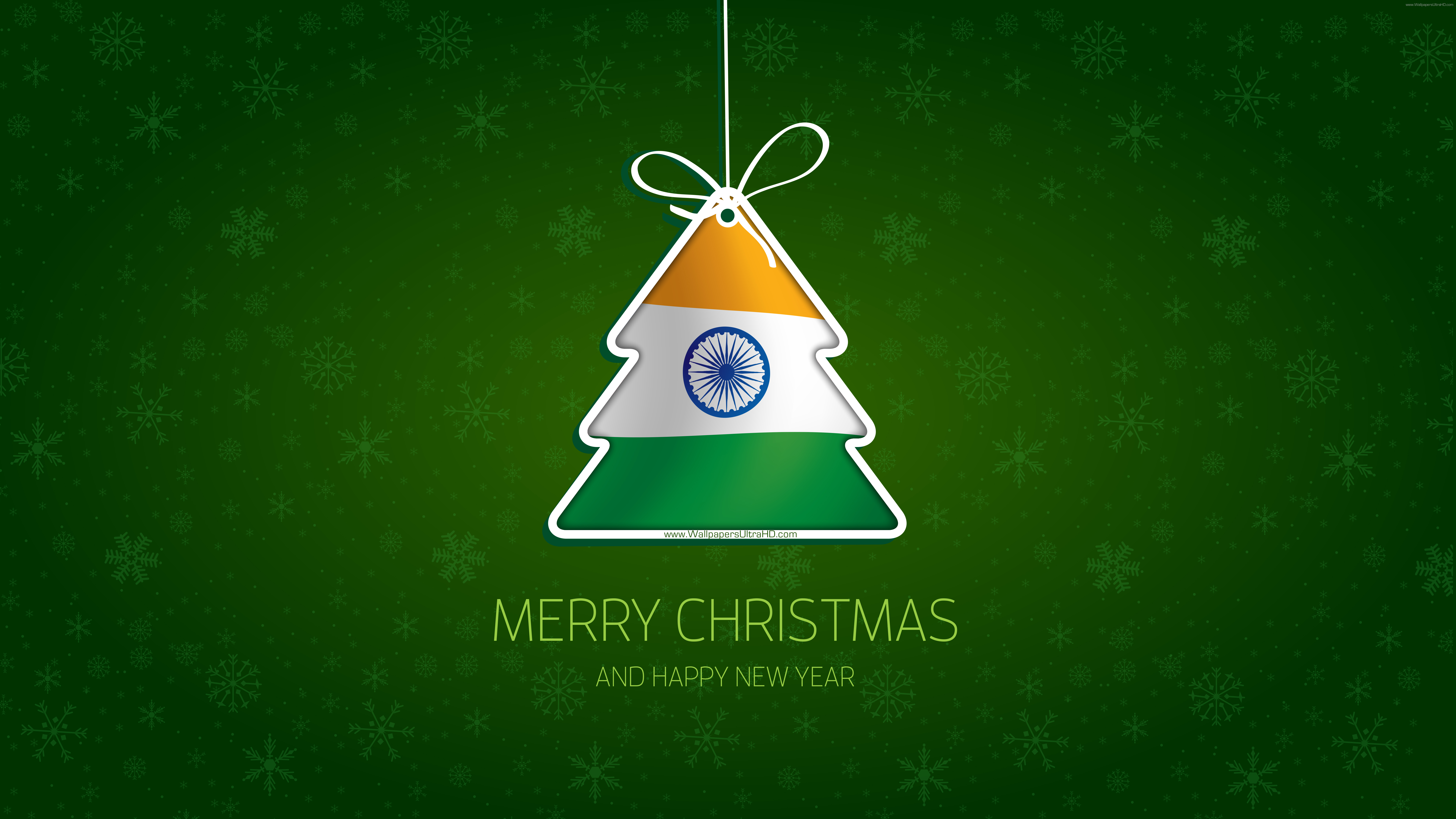 MERRY CHRISTMAS and HAPPY NEW YEAR India tree 7680x4320