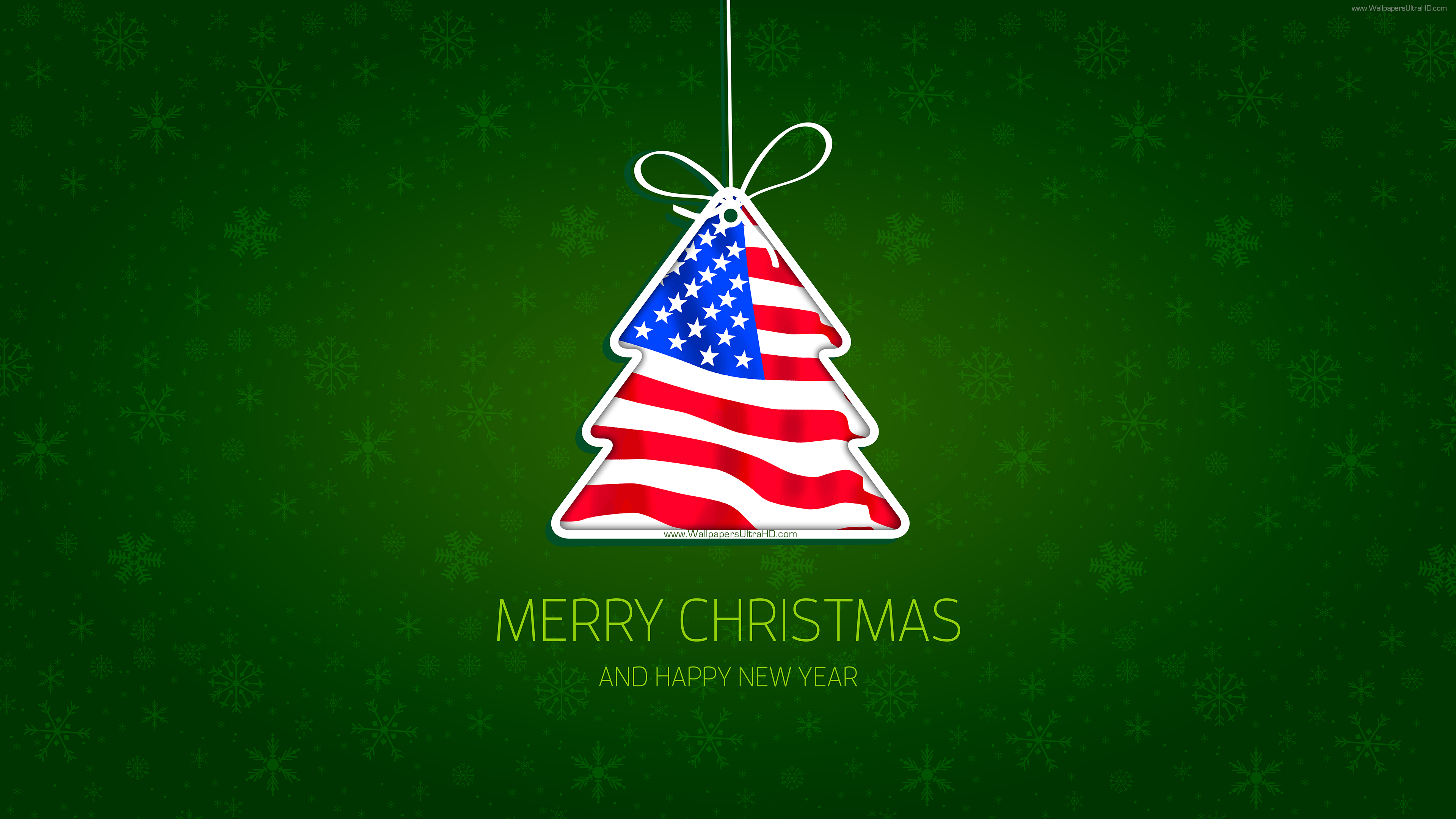 Christmas tree USA happy new year 4K wallpaper