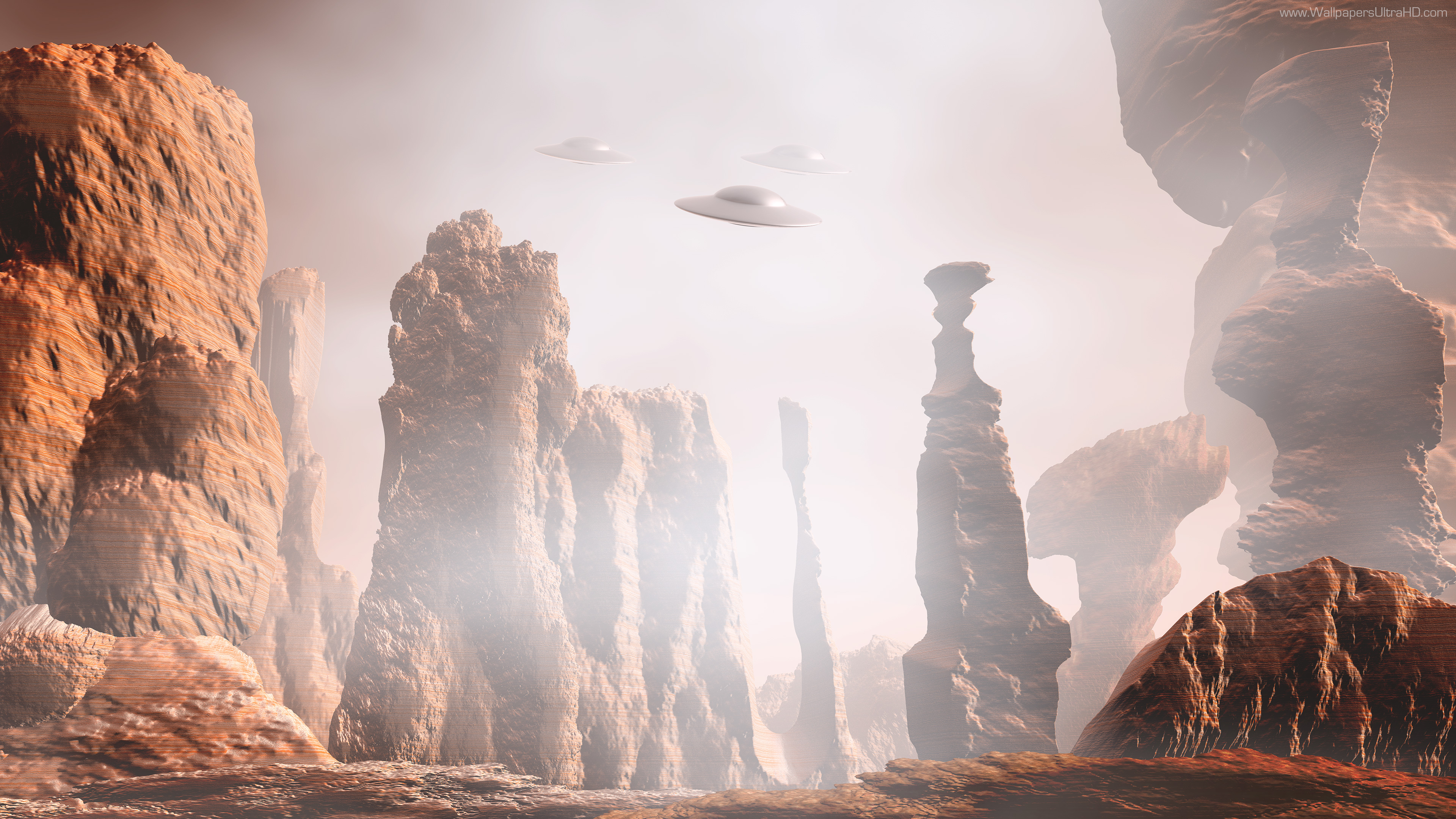 Wallpaper Martian Landscape Ufo UltraHD 4K